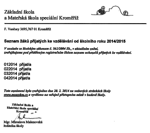 Seznam žáků přijatých ke vzdělávání od školního roku 2014/2015